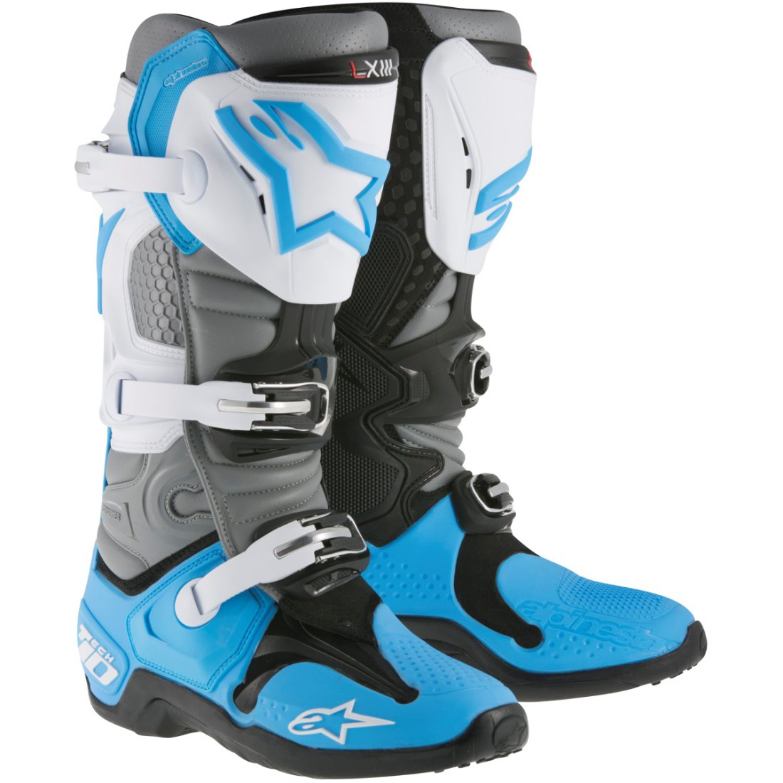 bottes alpinestars tech 10 2018 cyan white gray motocard. Black Bedroom Furniture Sets. Home Design Ideas