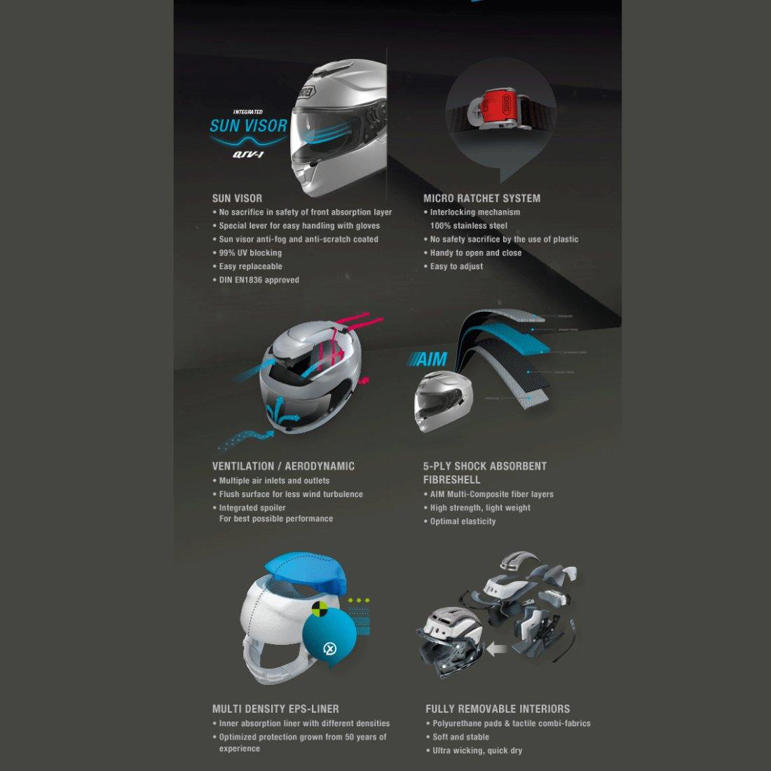 Shoei Gt Air White Helmet Motocard