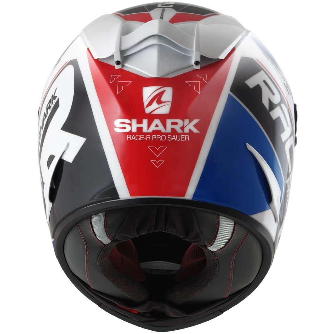 casque shark race r pro sauer white blue red motocard. Black Bedroom Furniture Sets. Home Design Ideas