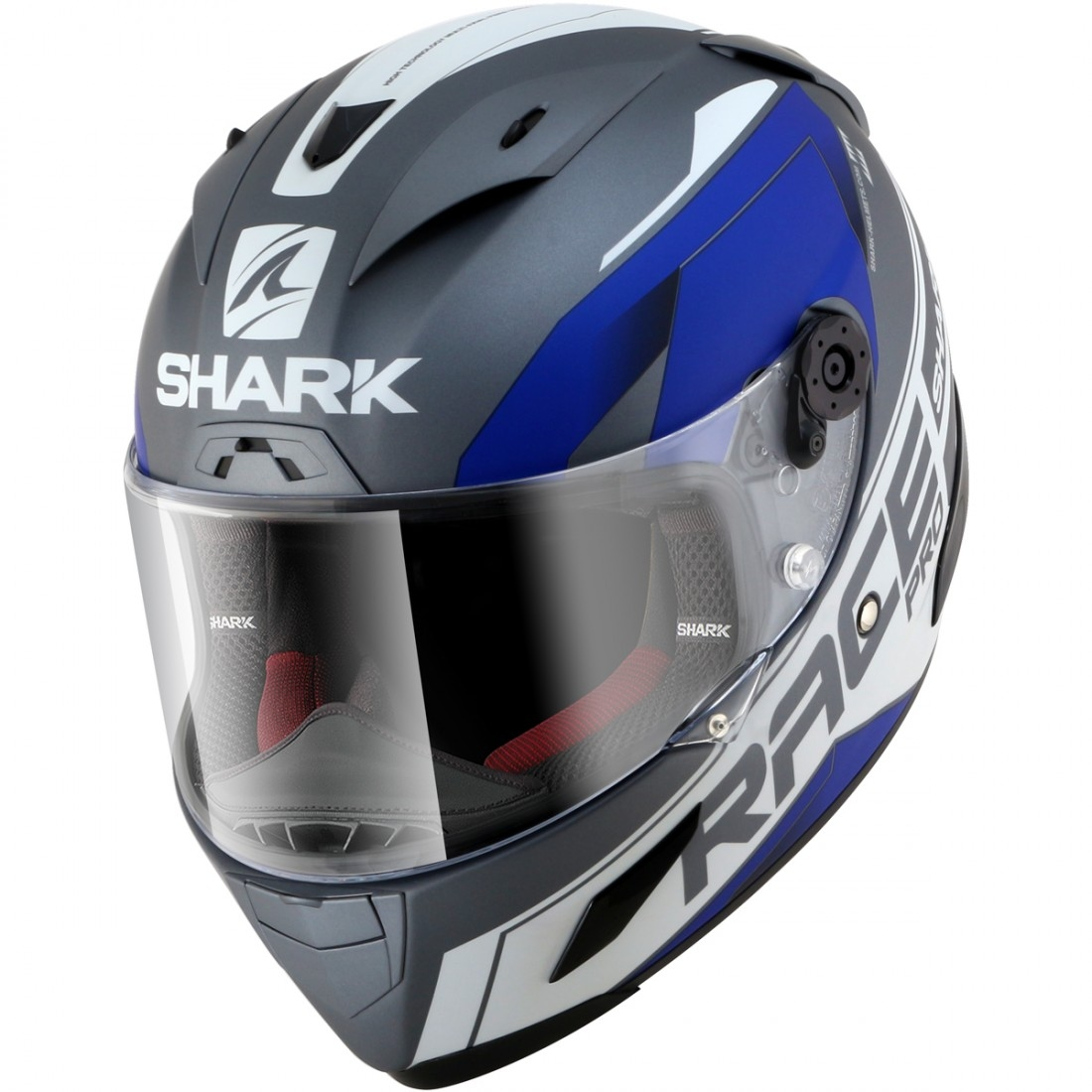 shark race r pro sauer mat anthracite white blue helmet motocard. Black Bedroom Furniture Sets. Home Design Ideas