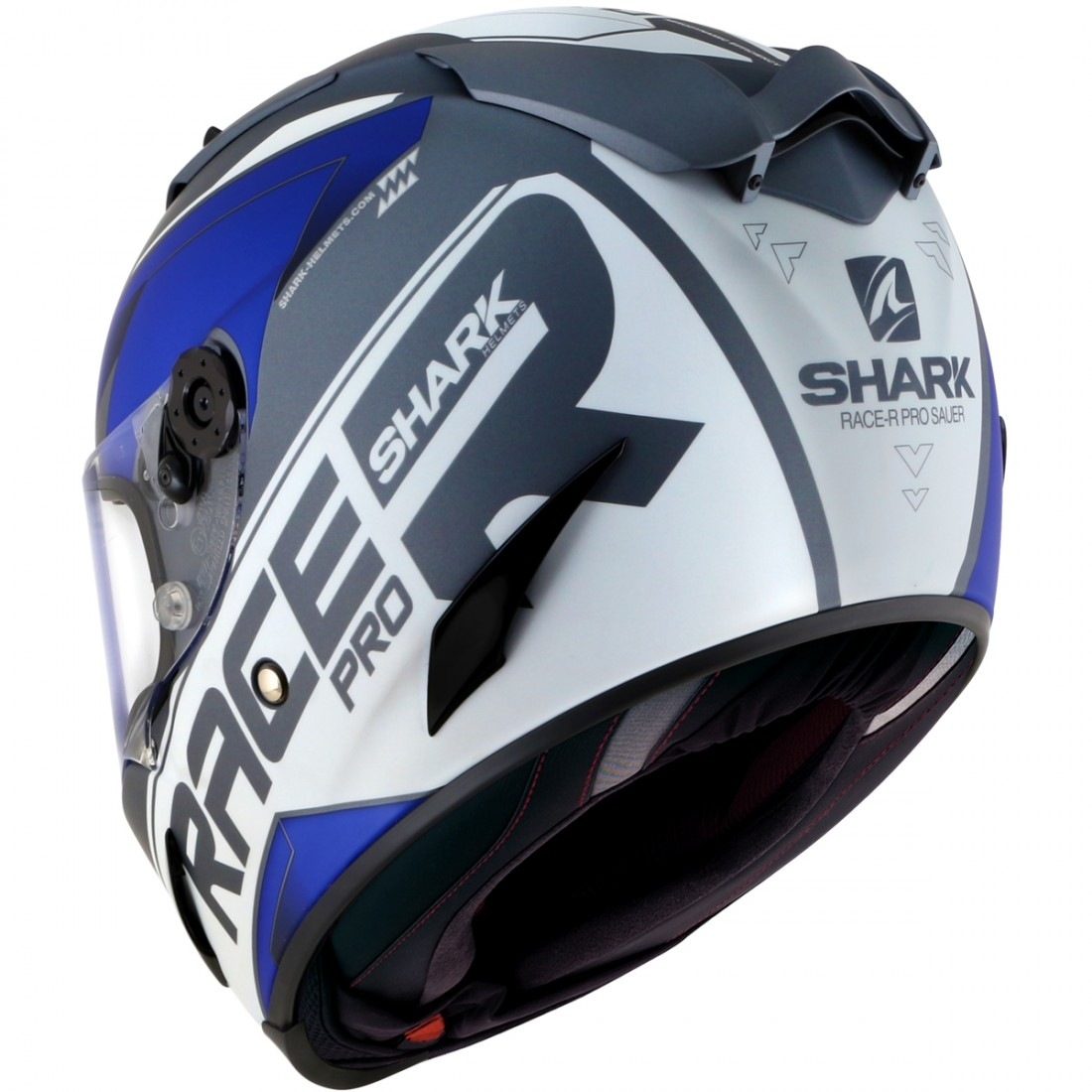 casco shark race r pro sauer mat anthracite white blue motocard. Black Bedroom Furniture Sets. Home Design Ideas
