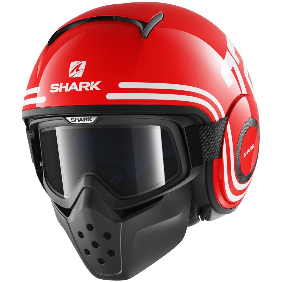 casque shark drak 72 red white black motocard. Black Bedroom Furniture Sets. Home Design Ideas