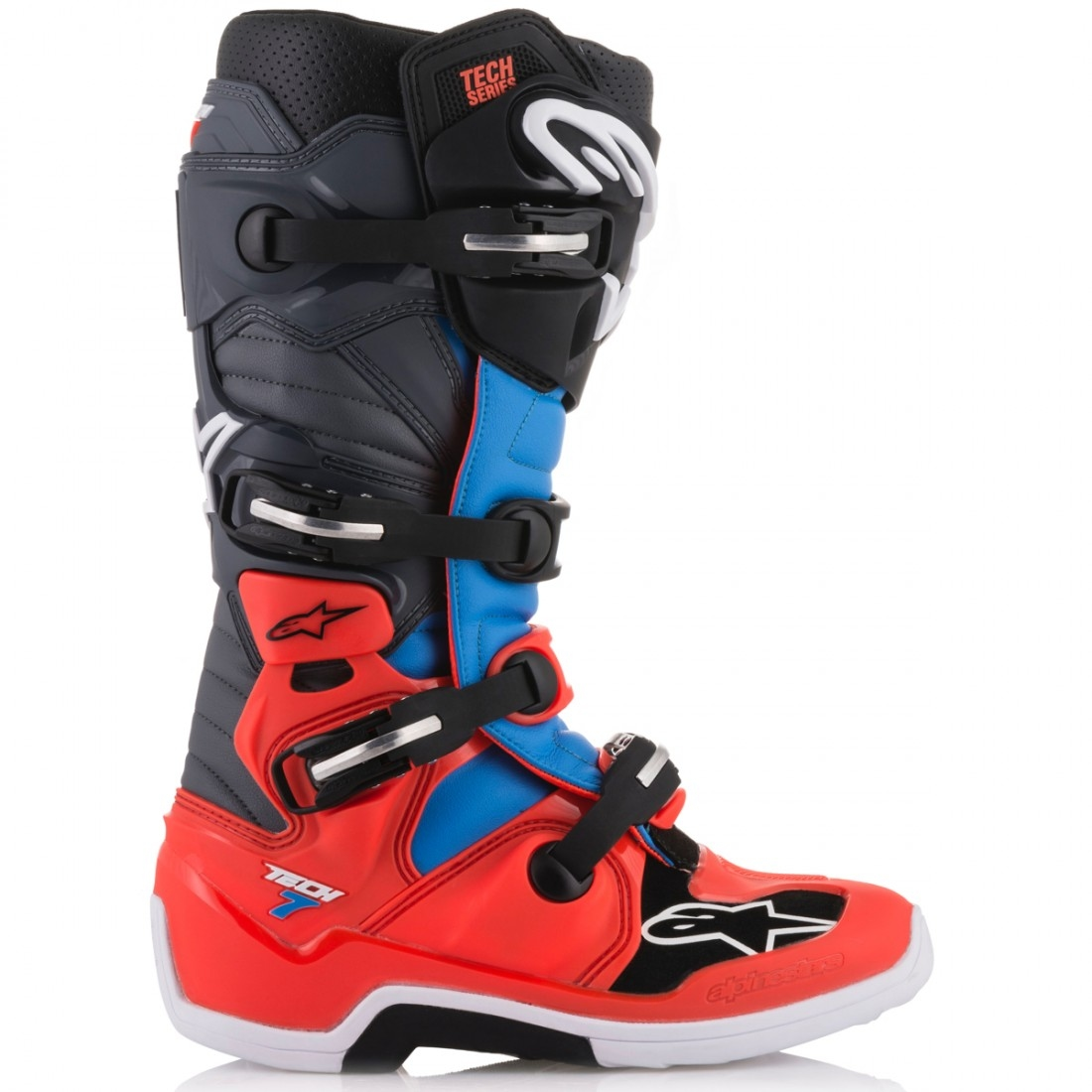bottes alpinestars tech 7 red fluo cyan gray black motocard. Black Bedroom Furniture Sets. Home Design Ideas