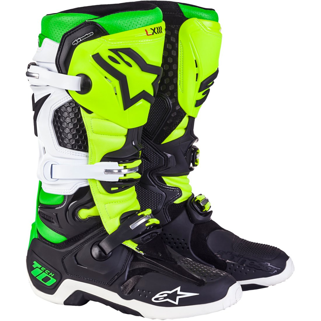 bottes alpinestars tech 10 vegas le black white yellow fluo green motocard. Black Bedroom Furniture Sets. Home Design Ideas