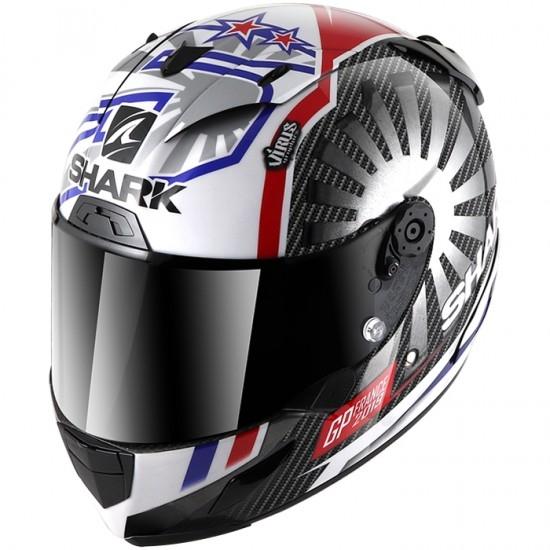 Casco SHARK Race-R Pro Carbon Replica Zarco GP France 2019 Carbon / Chrom / Red