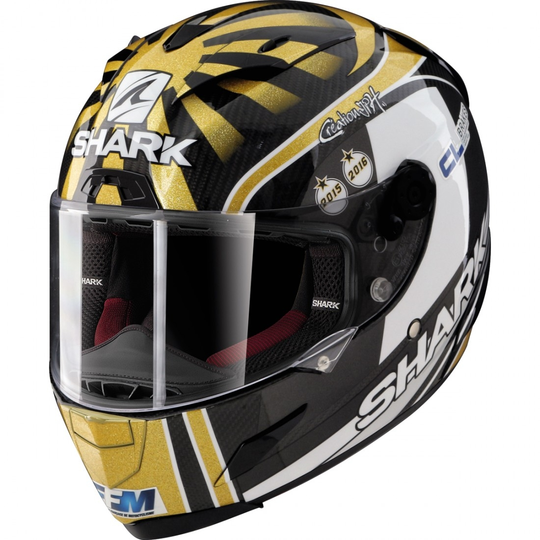 9bd940563ef60 SHARK Race-R Pro Carbon Replica Zarco World Champion 2016 Limited Edition  Carbon   Gold   Silver Helmet · Motocard