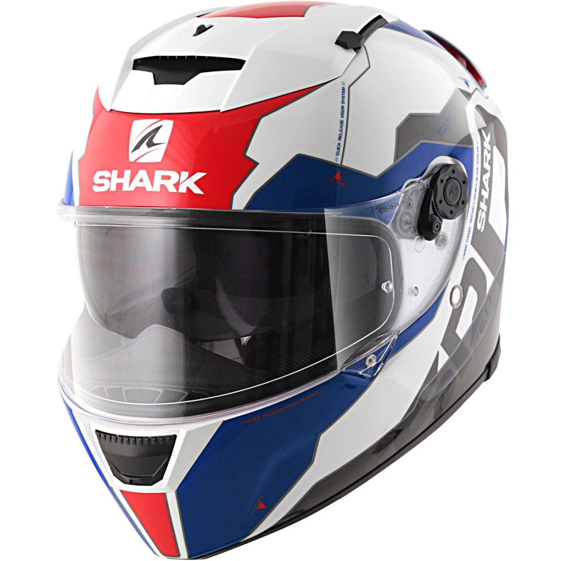 helmet shark speed r series2 sauer ii white blue red motocard. Black Bedroom Furniture Sets. Home Design Ideas