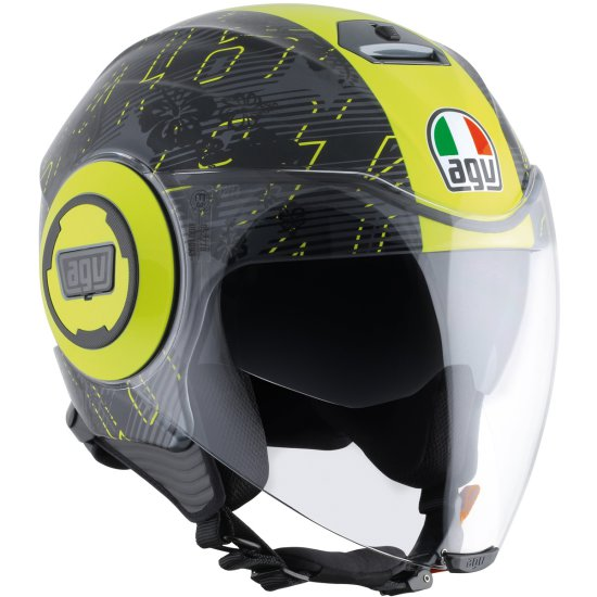 Casco AGV Fluid Rossi Ibiscus Gunmetal / Yellow