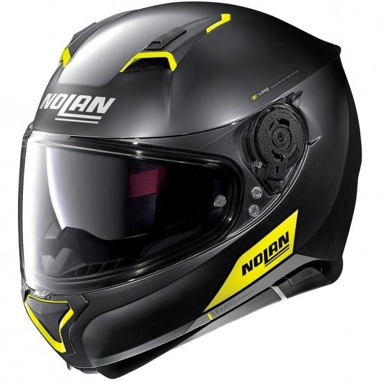Helm NOLAN N87 Emblema N-Com Flat Black / Yellow