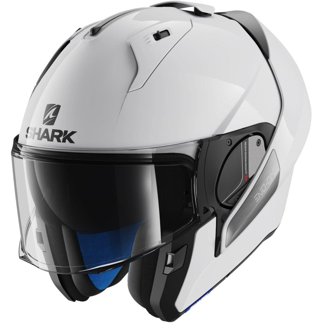 shark evo one blank white azur helmet motocard. Black Bedroom Furniture Sets. Home Design Ideas