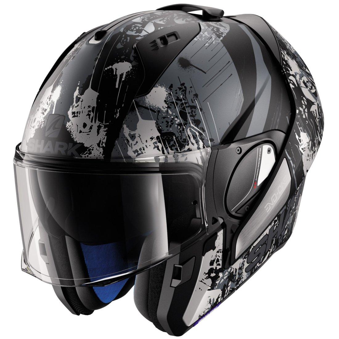 shark evo one falhout mat black silver anthracite helmet motocard. Black Bedroom Furniture Sets. Home Design Ideas