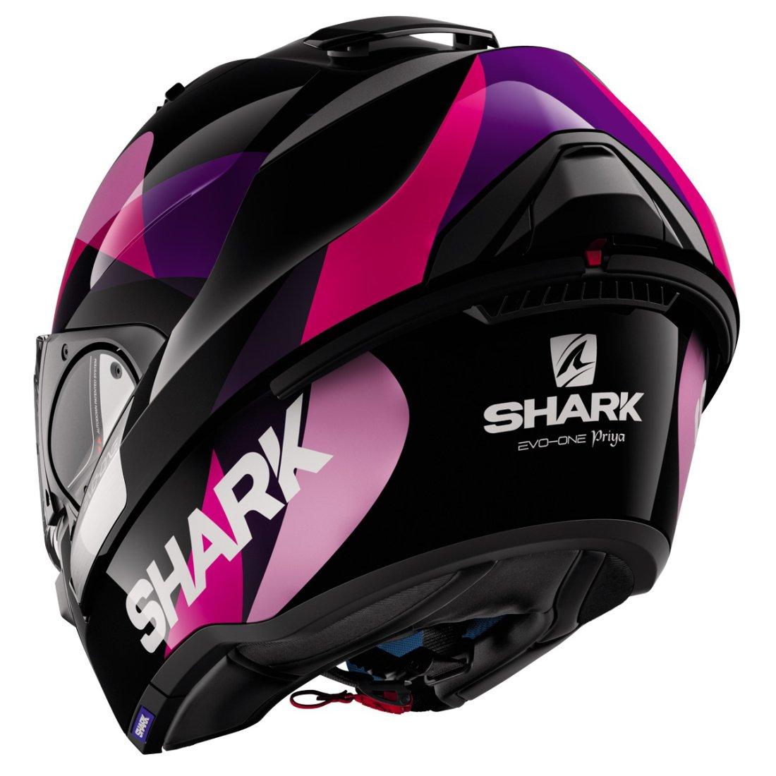 shark evo one priya black violet helmet motocard. Black Bedroom Furniture Sets. Home Design Ideas