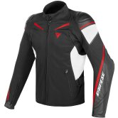 DAINESE Street Master Leather-Tex Black / White / Red-Lava