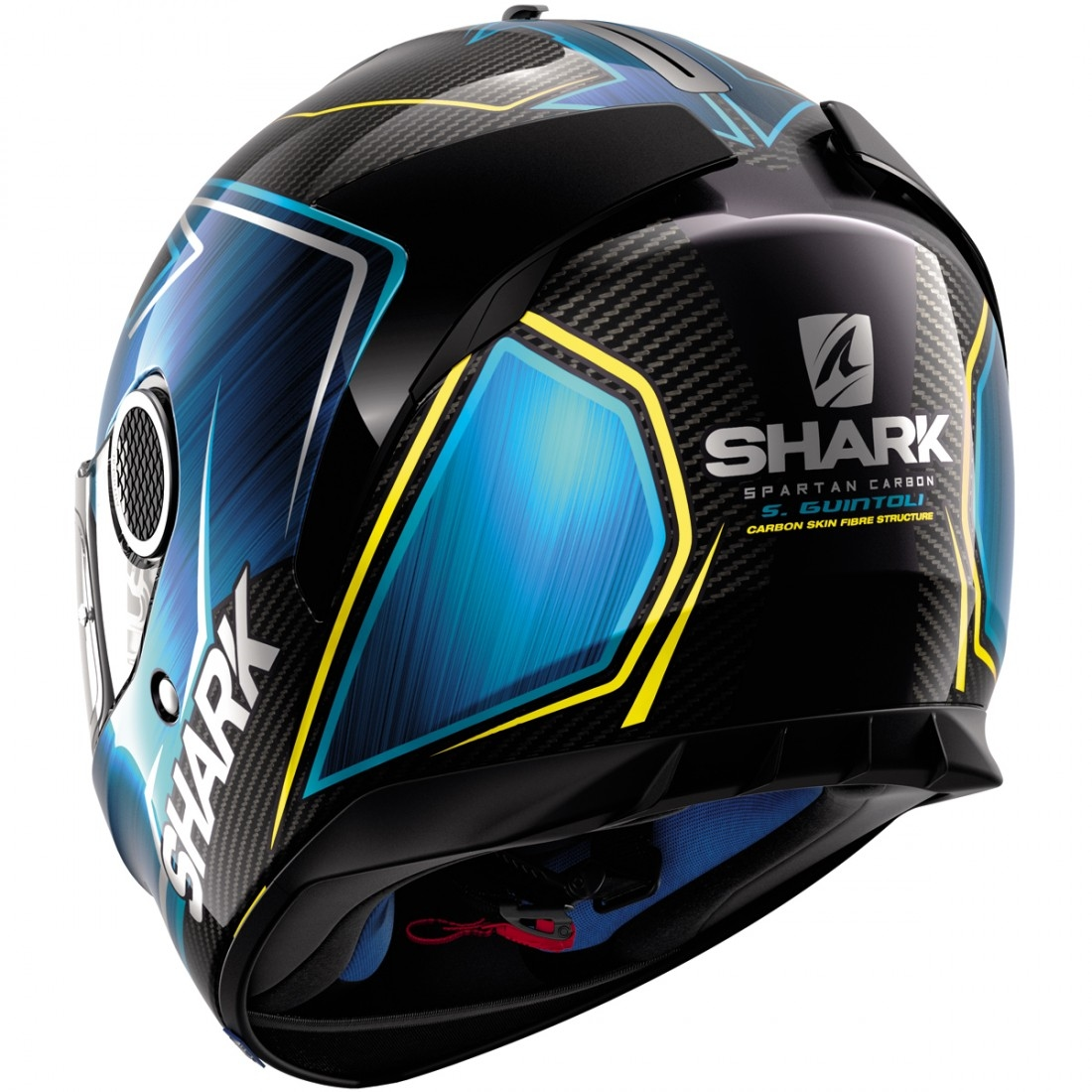 casque shark spartan carbon replica guintoli carbon blue yellow motocard. Black Bedroom Furniture Sets. Home Design Ideas