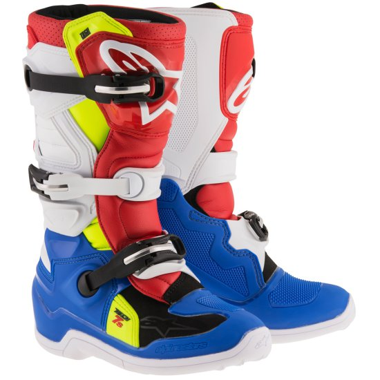 Stivale ALPINESTARS Tech 7S Junior Blue / White / Red / Yellow Fluo