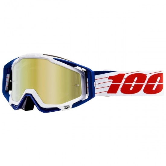 100% Racecraft Bibal White Mirror Gold Mask / Goggle