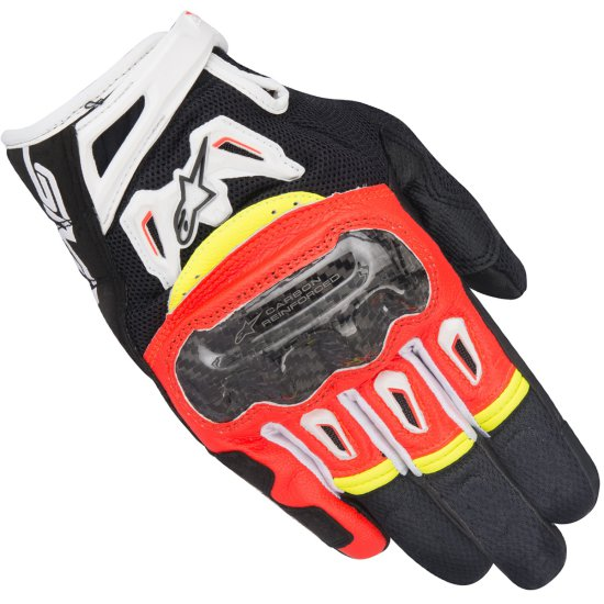 Guantes ALPINESTARS SMX-2 Air Carbon V2 Black / Red Fluo / White / Yellow Fluo