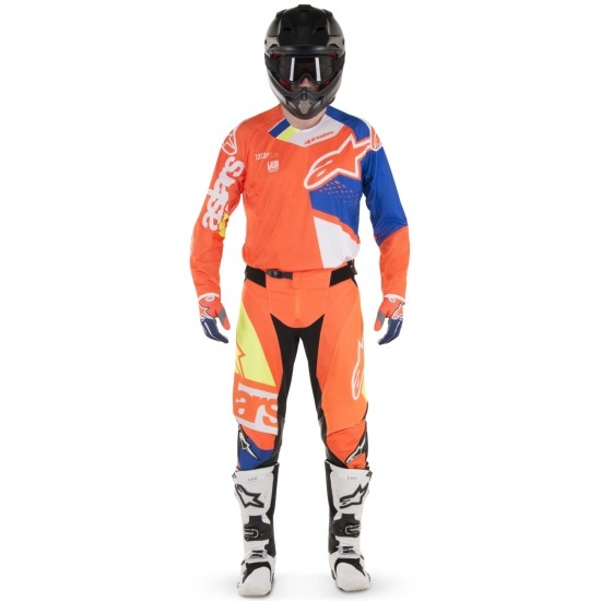 Hose ALPINESTARS Techstar 2018 Factory Orange Fluo / Blue / White / Yellow Fluo