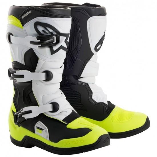 Stivale ALPINESTARS Tech 3S Junior Black / White / Yellow Fluo