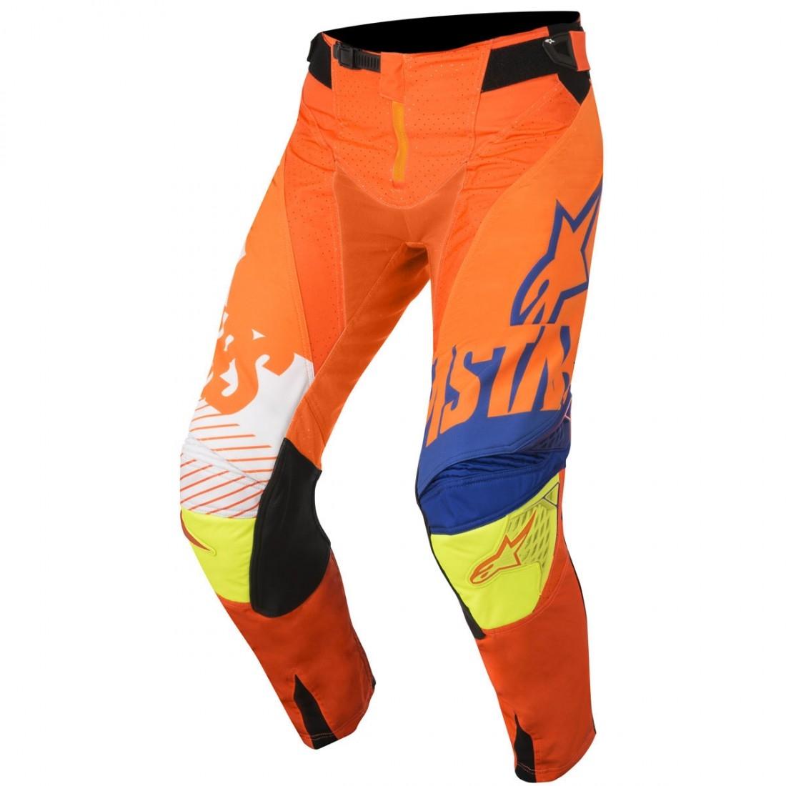 Orange Fluo White Dark Blue Alpinestars MX Racer Braap Motocross Pants