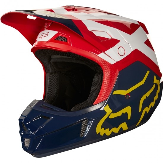 Casque FOX V2 Preme 2018 Navy / Red