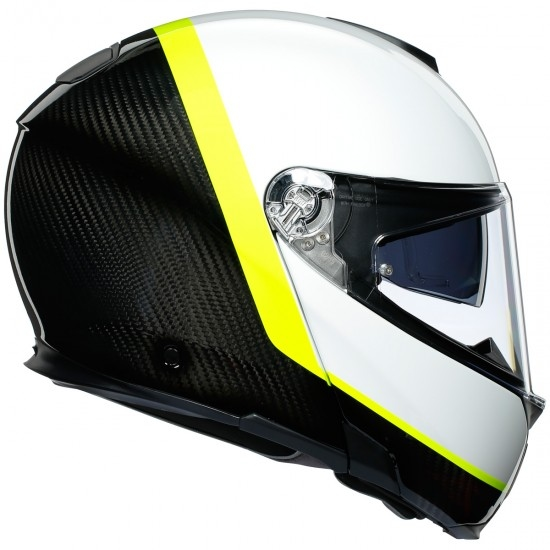 Casco AGV Sportmodular Ray Carbon / White / Yellow Fluo