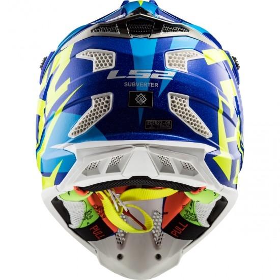 Casque LS2 MX470 Subverter Nimble White / Blue / H-V Yellow