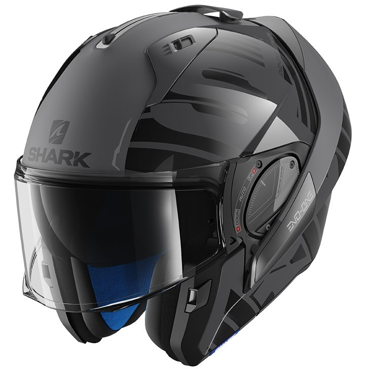 casque shark evo one 2 lithion dual anthracite black anthracite motocard. Black Bedroom Furniture Sets. Home Design Ideas