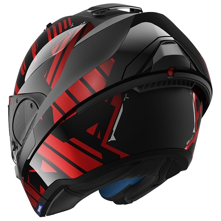casque shark evo one 2 lithion dual black chrom red motocard. Black Bedroom Furniture Sets. Home Design Ideas