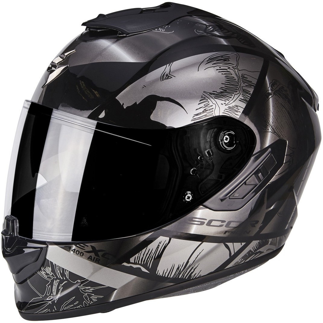 casco scorpion exo 1400 air patch black silver motocard. Black Bedroom Furniture Sets. Home Design Ideas