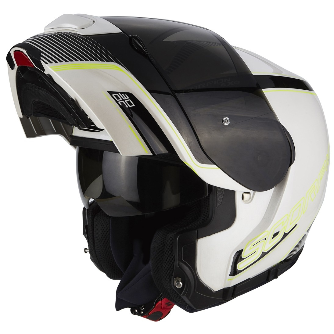 casco scorpion exo 3000 air stroll pearl white black neon yellow motocard. Black Bedroom Furniture Sets. Home Design Ideas