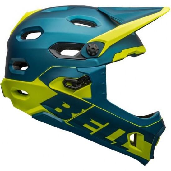 Casco BELL Super DH MIPS Matte - Gloss Blue / Hi-Viz