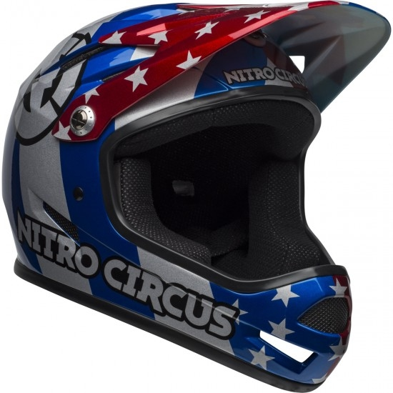 BELL Sanction Nitro Circus Gloss Silver / Blue / Red Helmet