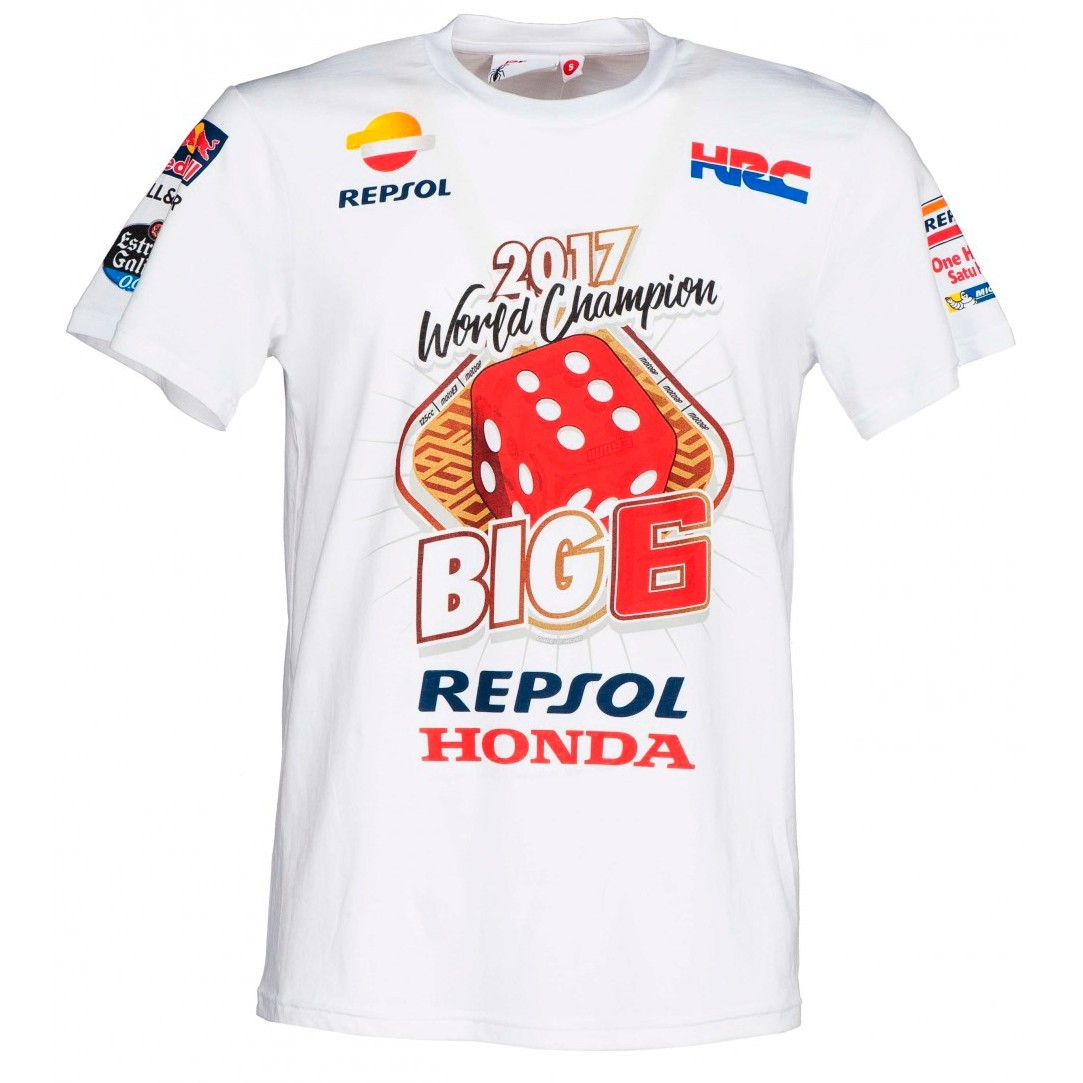 36b9cce92468d GP APPAREL Marc Marquez World Champion 2017 – Big 6 White Jersey · Motocard
