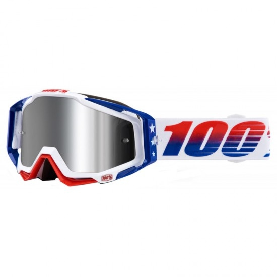 100% Racecraft + LE MXDN Red / Blue / White Mirror Silver Mask / Goggle