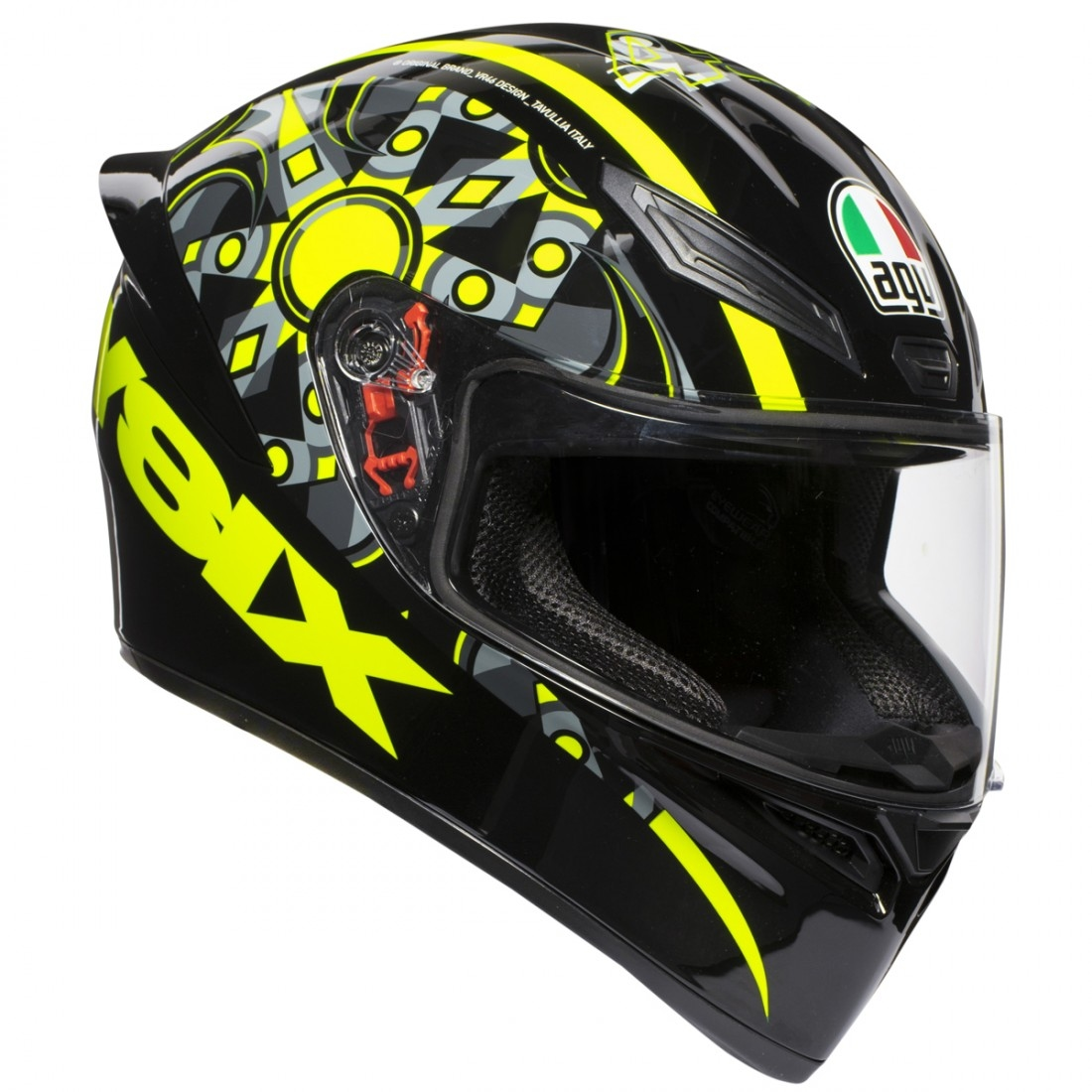 agv k 1 rossi flavum 46 helmet motocard. Black Bedroom Furniture Sets. Home Design Ideas