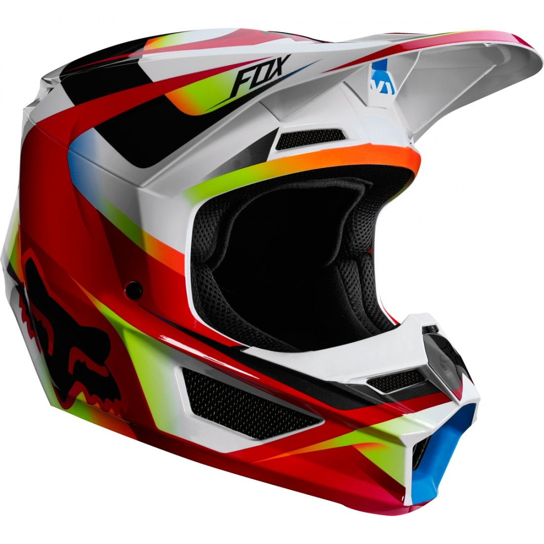 96eb8d739a99b FOX V1 Motif 2019 Red   White Helmet · Motocard
