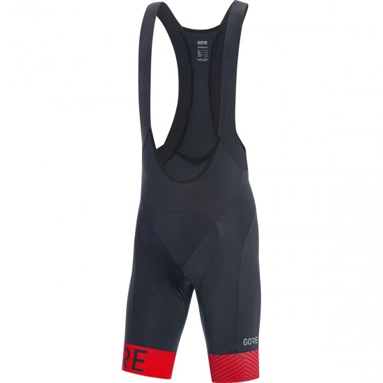 Culotte GORE C5 Optiline Bib Shorts + Black / Red