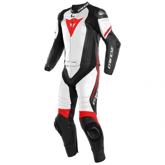 Tuta DAINESE Laguna Seca 4 Black-Matt / White / Red Fluo