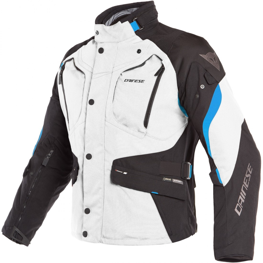 5075feb0 DAINESE Dolomiti Gore-Tex Light Grey / Black / Electron Blue Jacket ·  Motocard