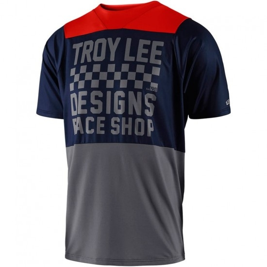 Bike Trikot TROY LEE DESIGNS Skyline Checker 2018 Navy / Gray