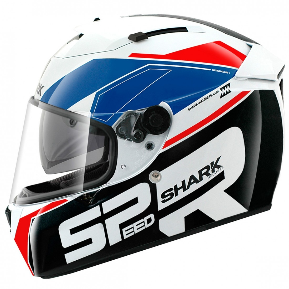 shark speed r se sauer white blue red helmet motocard. Black Bedroom Furniture Sets. Home Design Ideas