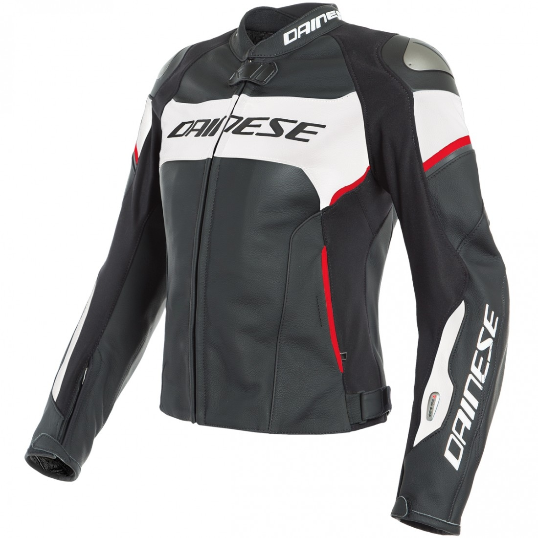 Giacca moto donna pelle racing Dainese RACING 3 LADY Bianco Nero Rosso
