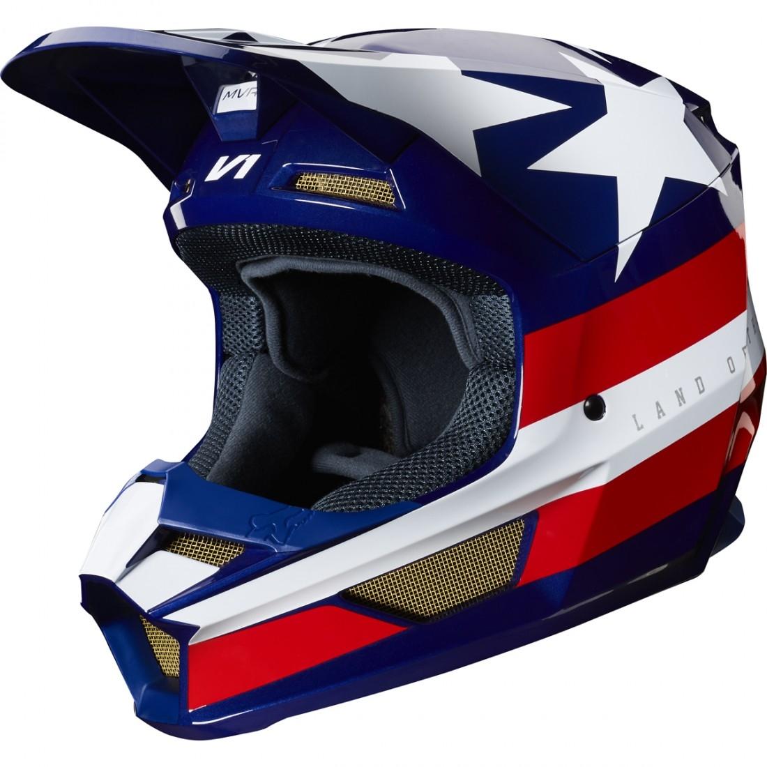 5b637c34 FOX V1 2019 Regl SE MXON White / Red / Blue Helmet · Motocard