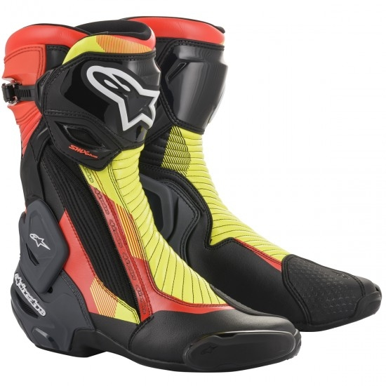 Bottes ALPINESTARS SMX Plus V2 Black / Red Fluo / Yellow Fluo / Grey