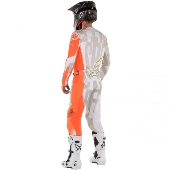 Camisola ALPINESTARS Techstar 2020 Factory Metal  White / Orange Fluo / Gold