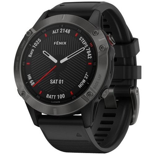 Kilometerzähler GARMIN Fēnix 6 Sapphire Carbon Grey DLC with Black Band