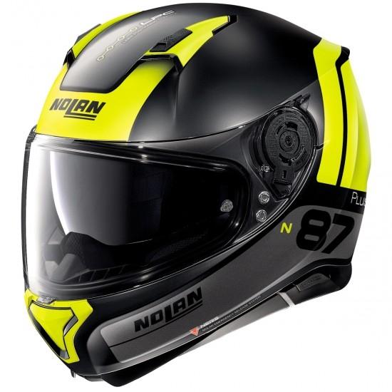 Casco NOLAN N87 Plus Distinctive N-Com Flat Grey / Yellow